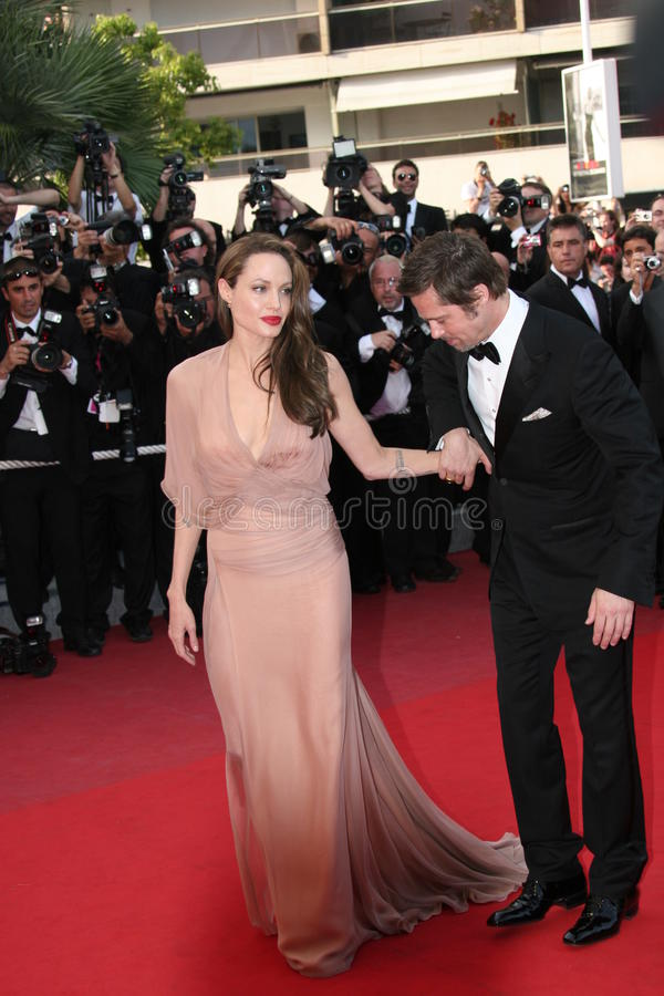 Angelina Jolie and Brad Pitt. CANNES, FRANCE - MAY 20: Angelina Jolie and Brad Pitt attend the 'Inglourious Basterds' Premiere at the Theatre Lumiere during the stock photography