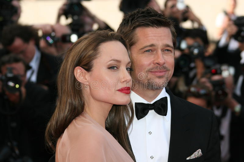 Angelina Jolie and Brad Pitt. CANNES, FRANCE - MAY 20: Angelina Jolie and Brad Pitt attend the 'Inglourious Basterds' Premiere at the Theatre Lumiere during the stock images