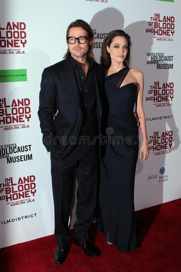 Angelina Jolie, Brad Pitt. Brad Pitt, Angelina Jolie at the In The Land Of Blood And Honey Los Angeles Premiere, ArcLight Cinemas, Hollywood, CA 12-08-11 royalty free stock images