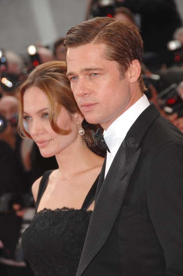 Angelina Jolie, Brad Pitt. Brad Pitt & Angelina Jolie at screening for their new movie A Mighty Heart at the 60th Annual International Film Festival de Cannes royalty free stock photo