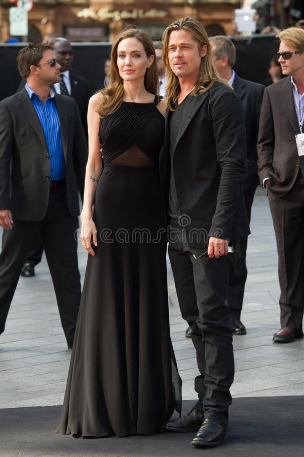 ANGELINA JOLIE. Brad Pitt and Angelina Jolie arriving for the World War Z World Premiere, at Empire Leicester Square, London. 02/06/2013 Picture by: Simon royalty free stock image