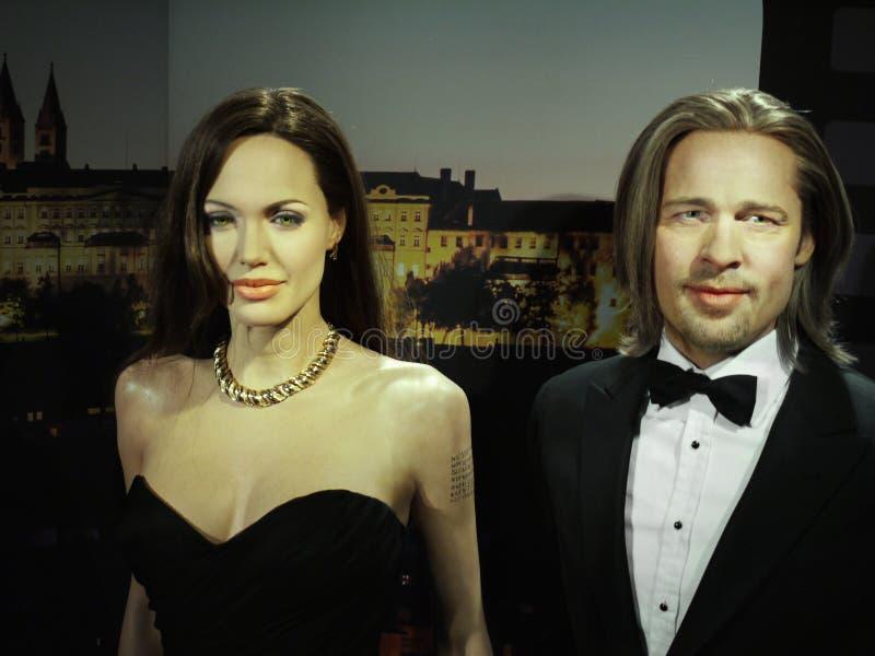 Angelina Jolie and Brad Pitt, Hollywood Celebrities. Wax models - Angelina Jolie and Brad Pitt, Hollywood celebrities and actors. Madame Tussauds in Wax Museum royalty free stock photography