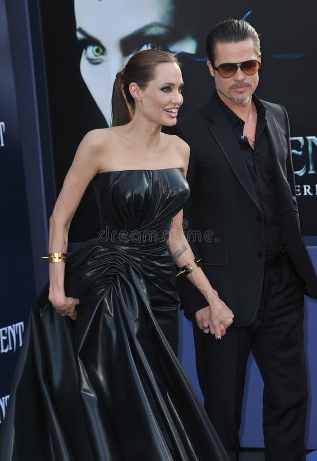 Angelina Jolie & Brad Pitt. LOS ANGELES, CA - MAY 29, 2014: Angelina Jolie & Brad Pitt at the world premiere of her movie Maleficent at the El Capitan Theatre stock photography