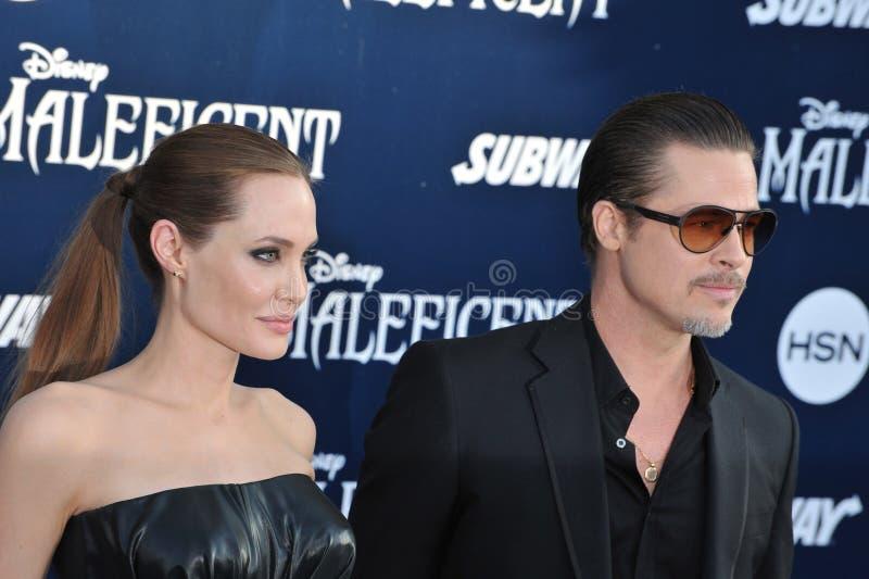 Angelina Jolie & Brad Pitt. LOS ANGELES, CA - MAY 29, 2014: Angelina Jolie & Brad Pitt at the world premiere of her movie Maleficent at the El Capitan Theatre stock images