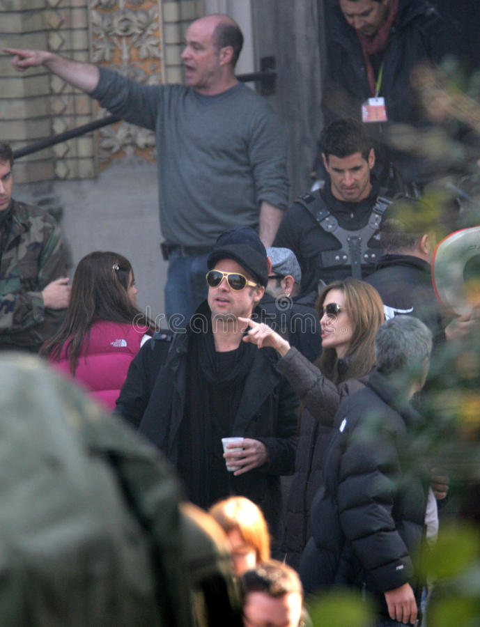 ANGELINA JOLIE AND BRAD PITT. On the set of the Bosnian war drama she is currently directing in Budapest, Hungary, on Wednesday, October 13, 2010 Photographer stock photos