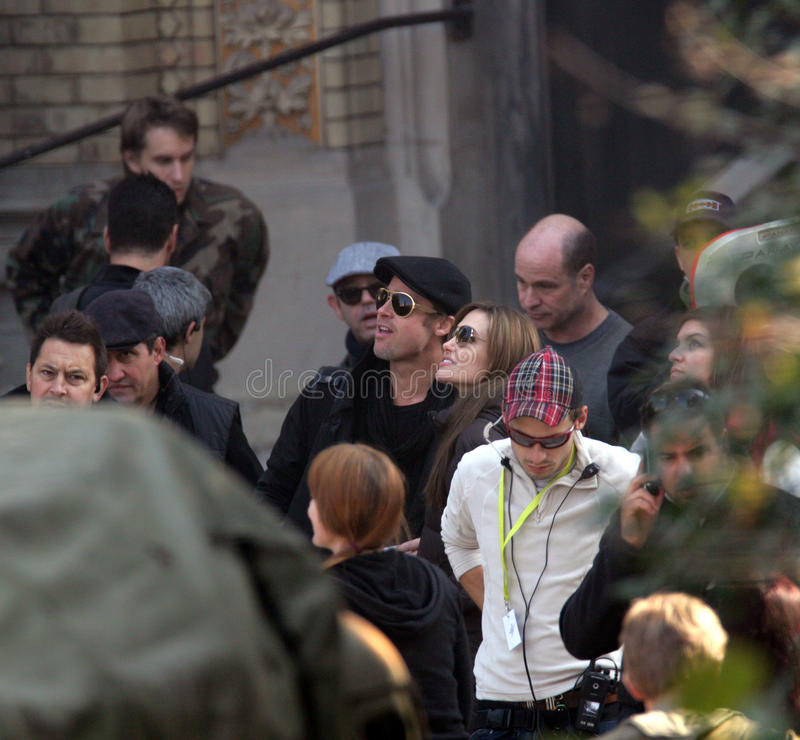 ANGELINA JOLIE AND BRAD PITT. On the set of the Bosnian war drama she is currently directing in Budapest, Hungary, on Wednesday, October 13, 2010 Photographer stock photography