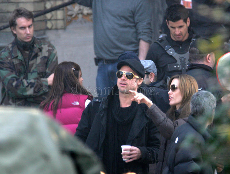 ANGELINA JOLIE AND BRAD PITT. On the set of the Bosnian war drama she is currently directing in Budapest, Hungary, on Wednesday, October 13, 2010 Photographer royalty free stock photos