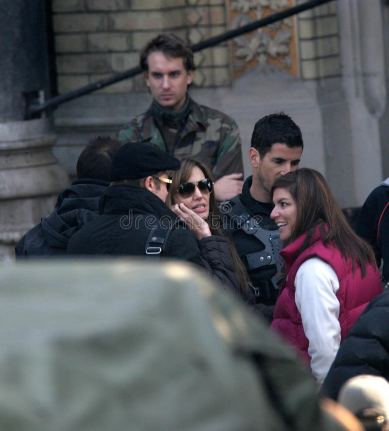 ANGELINA JOLIE. And Brad Pitt on the set of the Bosnian war drama she is currently directing in Budapest, Hungary, on Wednesday, October 13, 2010 Photographer stock image