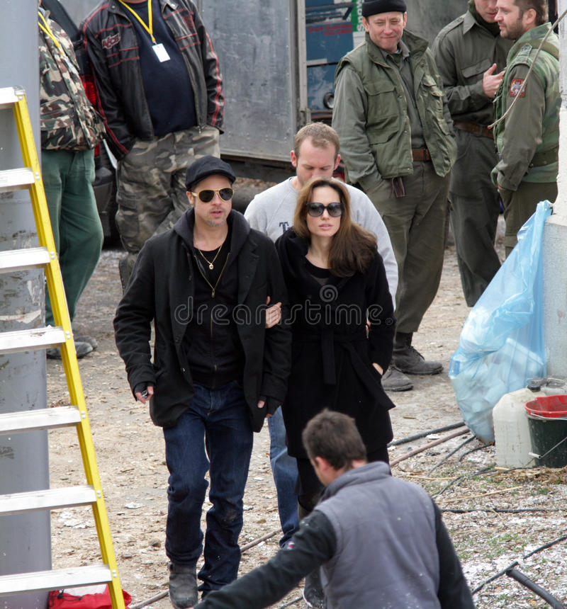ANGELINA JOLIE AND BRAD PITT. On the set of her directorial debut, a Bosnian war love drama, currently in production in Budapest, Hungary, on Tuesday, November stock photography