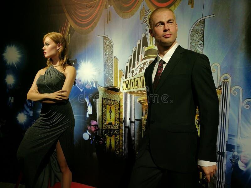 Angelina Jolie And Brad Pitt-Wachsstatue lizenzfreie stockfotografie