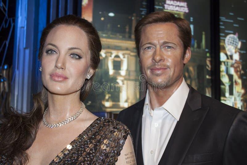 Angelina Jolie & Brad Pitt. Wax statues of Angelina Jolie & Brad Pitt at the Madame Tussauds museum in Las Vegas, NV stock photos