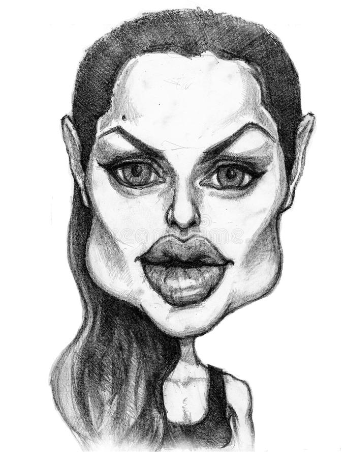 Angelina jolie caricature. A pencil-drawn caricature of the actress Angelina Jolie