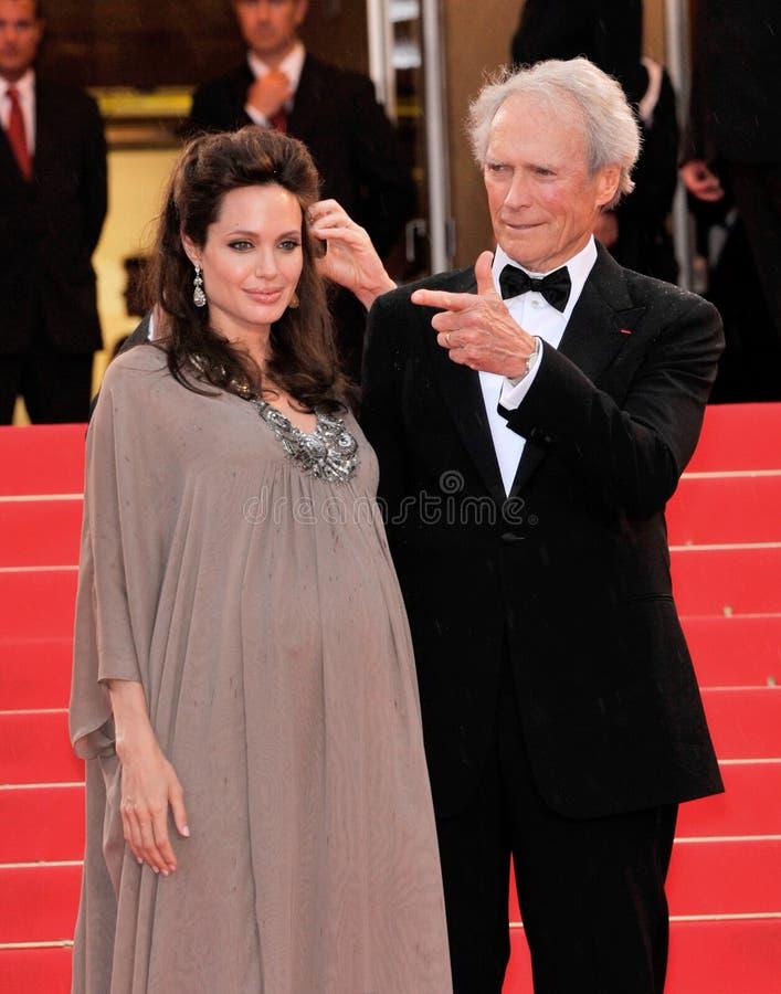Angelina Jolie, Clint Eastwood royalty-vrije stock afbeelding