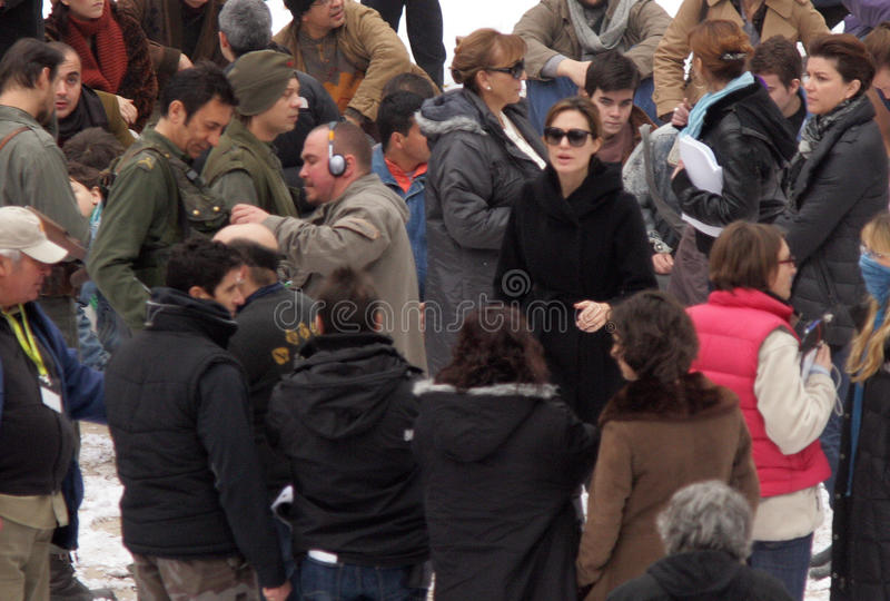 ANGELINA JOLIE. Directs a crowd scene on the set of her directorial debut now filming in Budapest, Hungary, on Wednesday, November 8, 2010. Photographer stock image