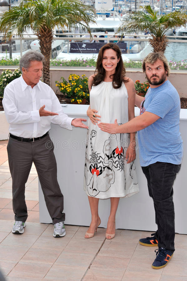 Angelina Jolie, Dustin Hoffman, Jack Black. Angelina Jolie with Dustin Hoffman (left) & Jack Black at photocall for their new movie Kung Fu Panda at the 61st royalty free stock photo