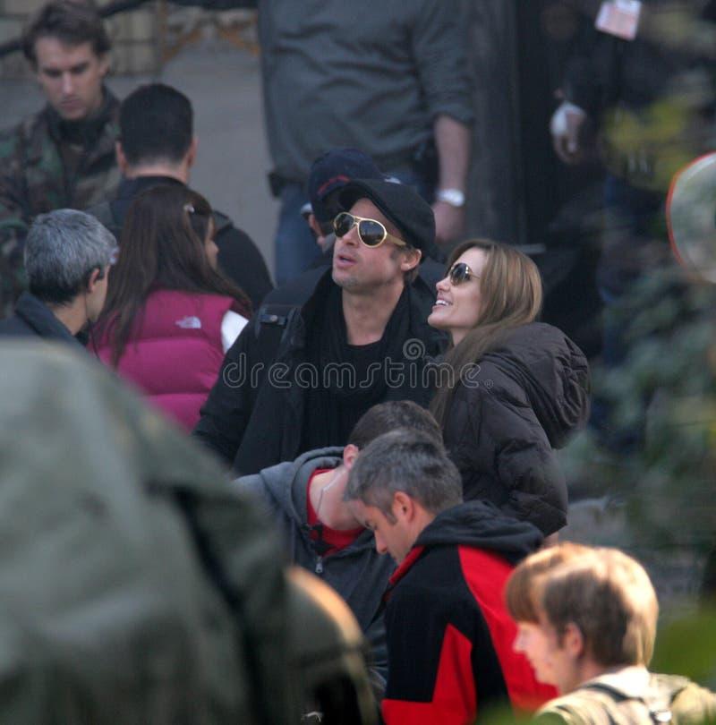 Angelina Jolie en Brad Pitt stock foto's