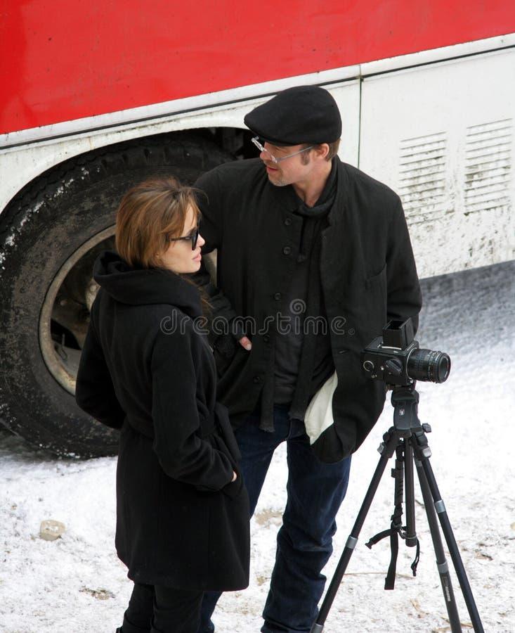 Angelina Jolie en Brad Pitt royalty-vrije stock foto