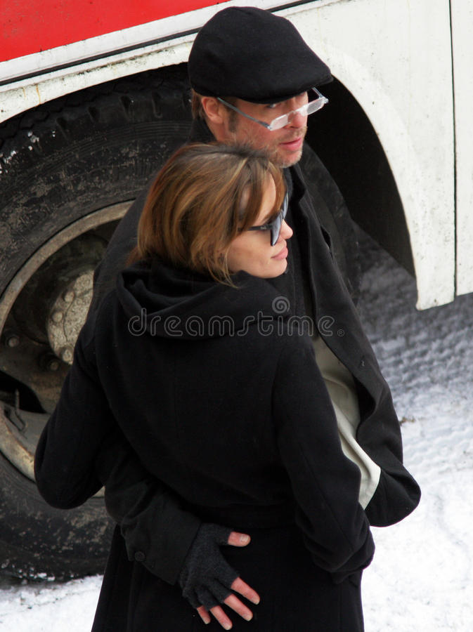 Angelina Jolie en Brad Pitt stock afbeelding
