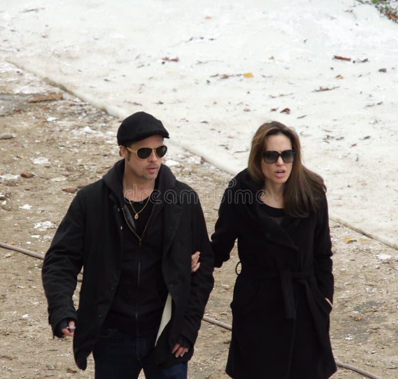 Angelina Jolie en Brad Pitt royalty-vrije stock afbeeldingen