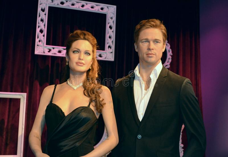 Angelina Jolie en Brad Pitt Wax Figures royalty-vrije stock foto's