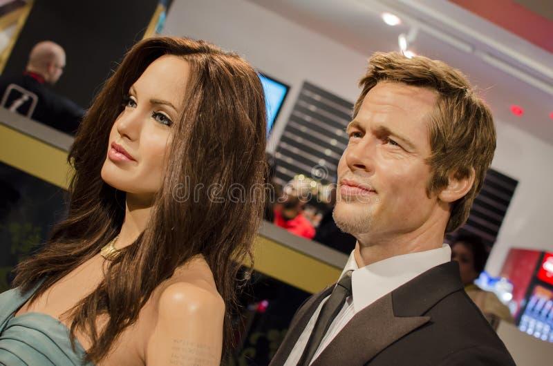 Angelina jolie en spijker zonder kop pitt stock foto's