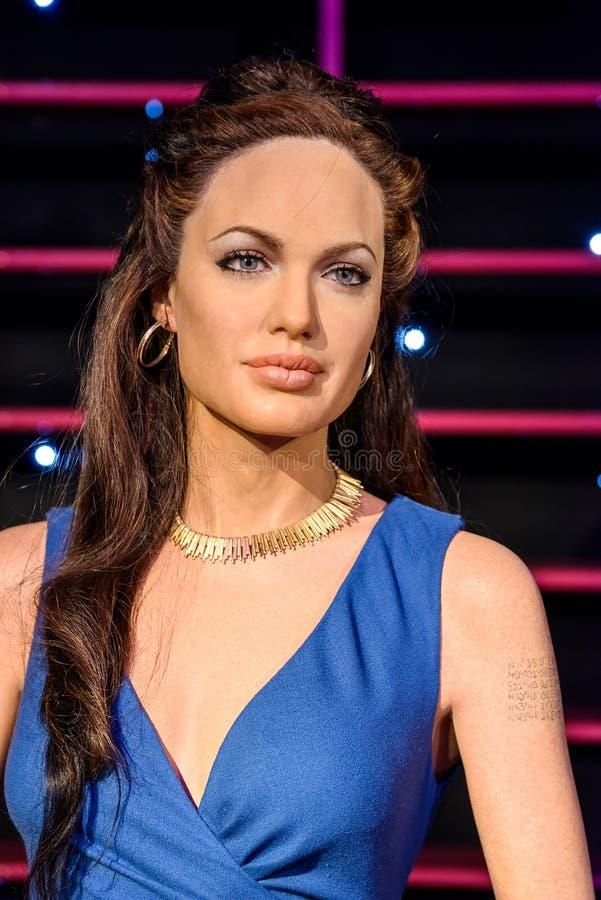 Angelina Jolie Figurine At Madame Tussaud-Wasmuseum stock afbeelding