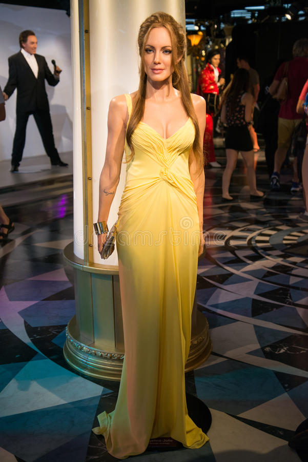 Angelina Jolie in Grevin museum of the wax figures in Prague. Prague, Czech republic, July 22, 2017: Angelina Jolie in Grevin museum of the wax figures in stock photo