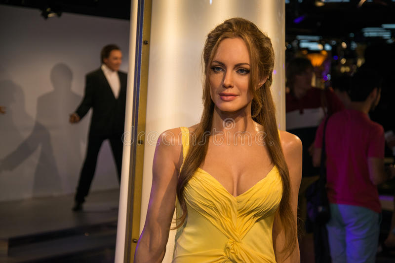 Angelina Jolie in Grevin museum of the wax figures in Prague. Prague, Czech republic, July 22, 2017: Angelina Jolie in Grevin museum of the wax figures in stock photography