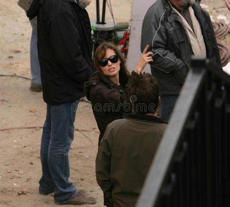 ANGELINA JOLIE. In her directorial debut, on the set of her Bosnian war love movie currently in production in Budapest, Hungary, on Thursday, November 4, 2010 stock photo
