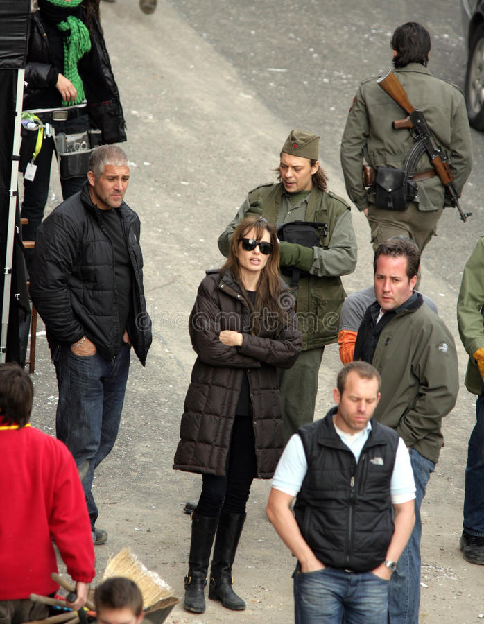 ANGELINA JOLIE. In her directorial debut, on the set of her Bosnian war love movie currently in production in Budapest, Hungary, on Thursday, November 4, 2010 royalty free stock photography