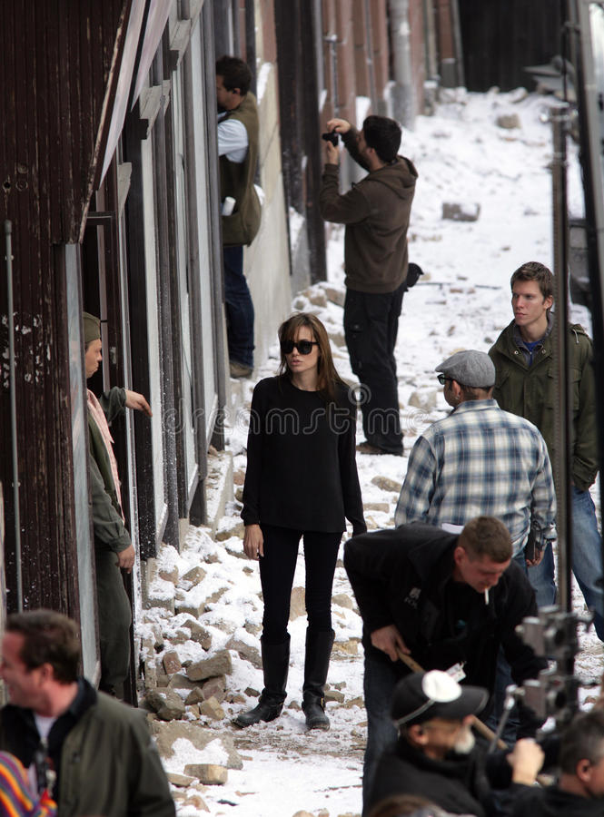 ANGELINA JOLIE. In her directorial debut, on the set of her Bosnian war love movie currently in production in Budapest, Hungary, on Thursday, November 4, 2010 stock photography