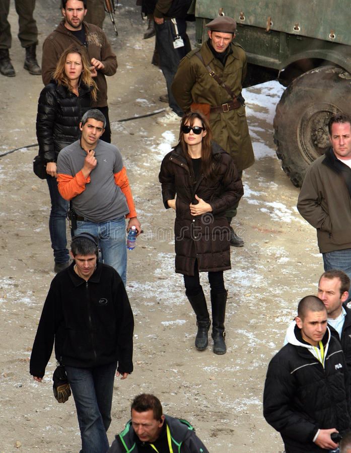 ANGELINA JOLIE. In her directorial debut, on the set of her Bosnian war love movie currently in production in Budapest, Hungary, on Thursday, November 4, 2010 royalty free stock photos