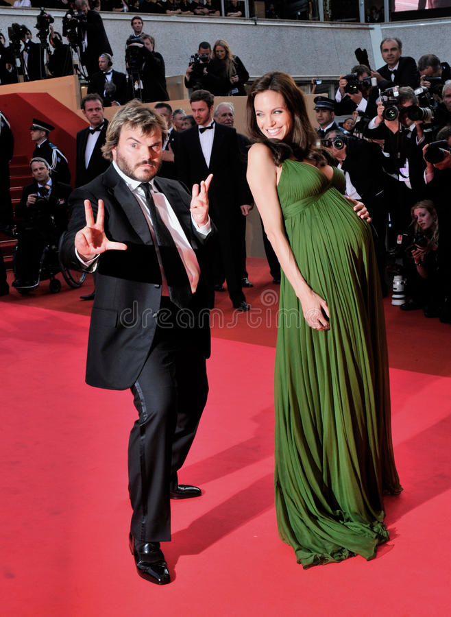 Angelina Jolie, Jack Black. Angelina Jolie & Jack Black at the gala premiere for their new movie Kung Fu Panda at the 61st Annual International Film Festival de royalty free stock photos