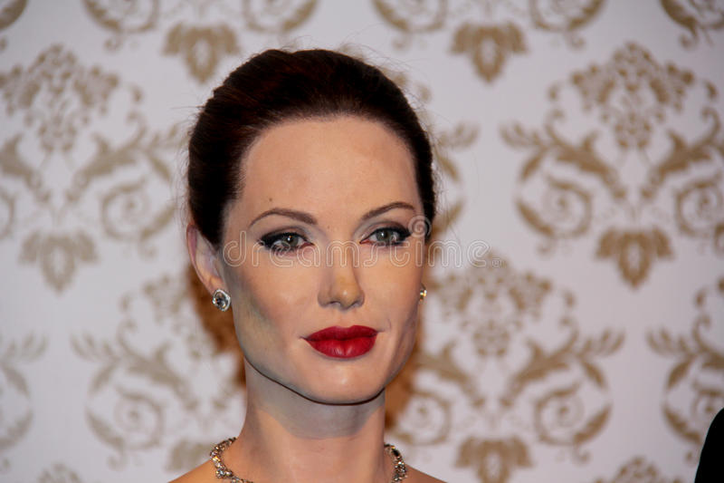 Angelina Jolie. London, - United Kingdom, 08, July 2014. Madame Tussauds in London. Waxwork statue of Angelina Jolie. Created by Madam Tussauds in 1884, Madam stock photos