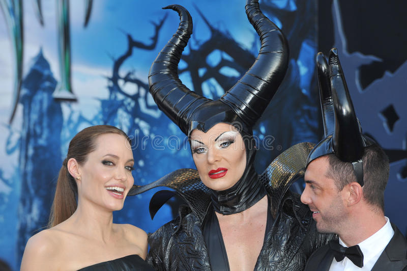 Angelina Jolie. LOS ANGELES, CA - MAY 29, 2014: Angelina Jolie & characters at the world premiere of her movie Maleficent at the El Capitan Theatre, Hollywood royalty free stock photo