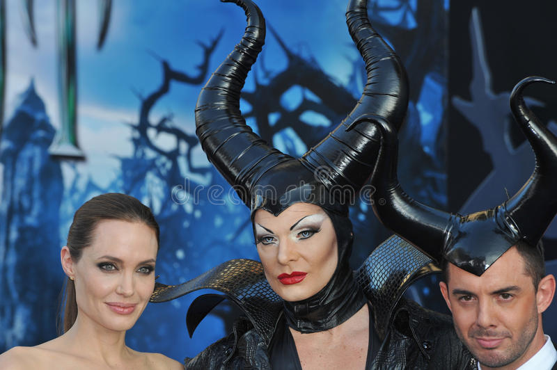 Angelina Jolie. LOS ANGELES, CA - MAY 29, 2014: Angelina Jolie & characters at the world premiere of her movie Maleficent at the El Capitan Theatre, Hollywood royalty free stock photos
