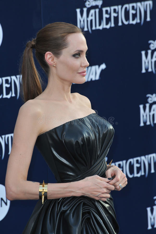 Angelina Jolie. LOS ANGELES, CA - MAY 29, 2014: Angelina Jolie at the world premiere of her movie Maleficent at the El Capitan Theatre, Hollywood royalty free stock photos
