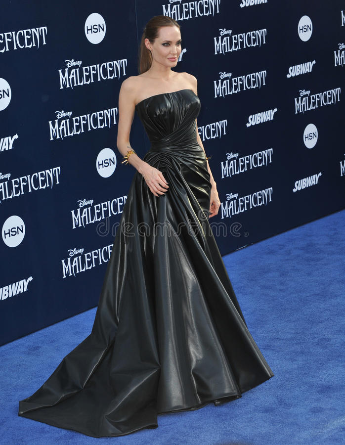 Angelina Jolie. LOS ANGELES, CA - MAY 29, 2014: Angelina Jolie at the world premiere of her movie Maleficent at the El Capitan Theatre, Hollywood royalty free stock images