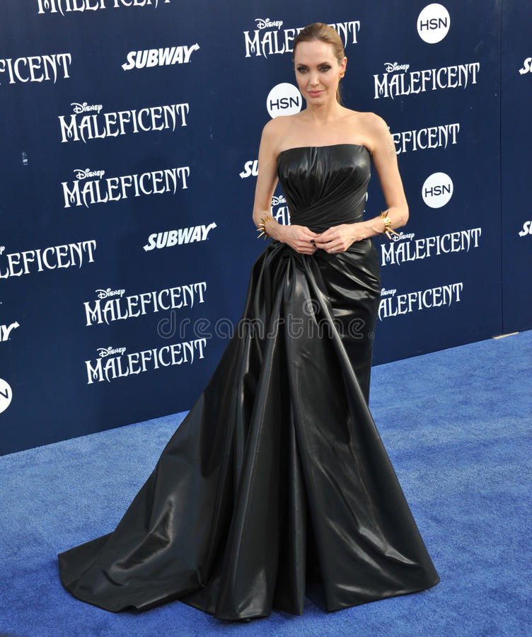 Angelina Jolie. LOS ANGELES, CA - MAY 29, 2014: Angelina Jolie at the world premiere of her movie Maleficent at the El Capitan Theatre, Hollywood royalty free stock photo