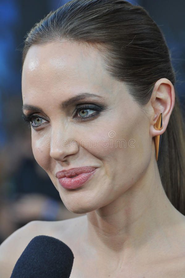 Angelina Jolie. LOS ANGELES, CA - MAY 29, 2014: Angelina Jolie at the world premiere of her movie Maleficent at the El Capitan Theatre, Hollywood royalty free stock image