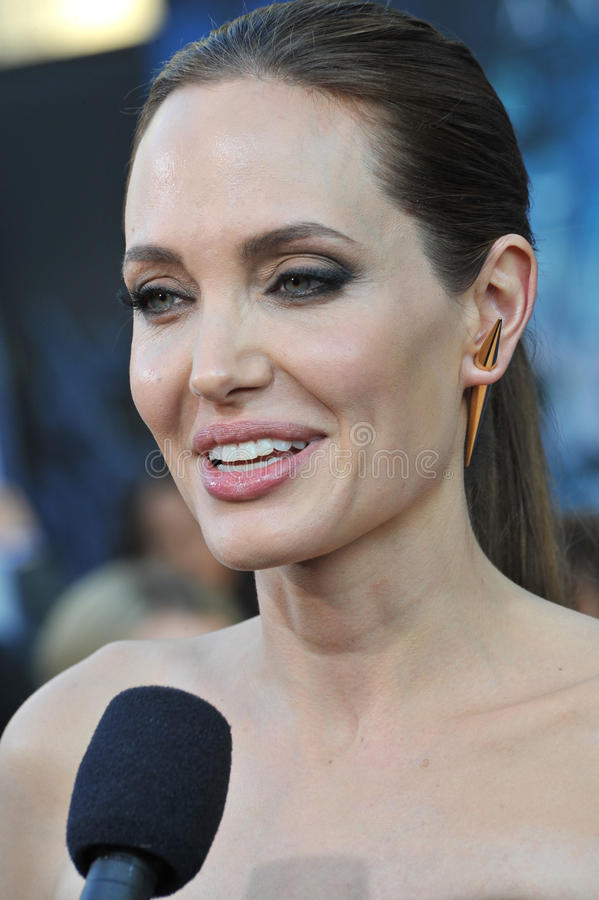 Angelina Jolie. LOS ANGELES, CA - MAY 29, 2014: Angelina Jolie at the world premiere of her movie Maleficent at the El Capitan Theatre, Hollywood royalty free stock photography