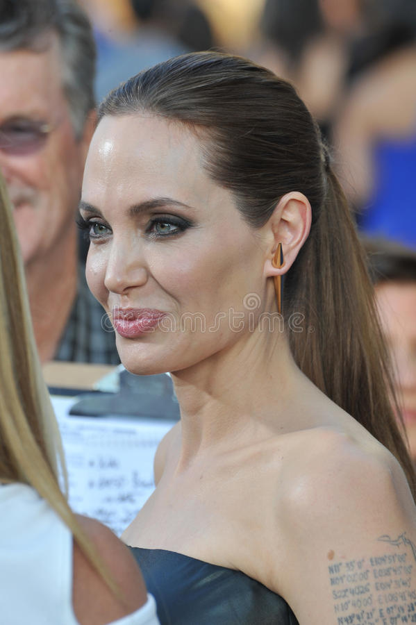 Angelina Jolie. LOS ANGELES, CA - MAY 29, 2014: Angelina Jolie at the world premiere of her movie Maleficent at the El Capitan Theatre, Hollywood stock images