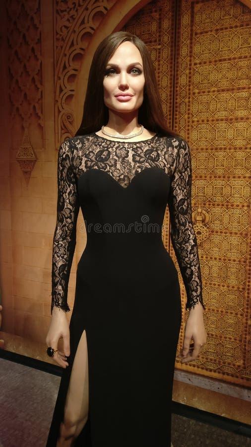 Angelina Jolie na senhora Tussauds imagens de stock