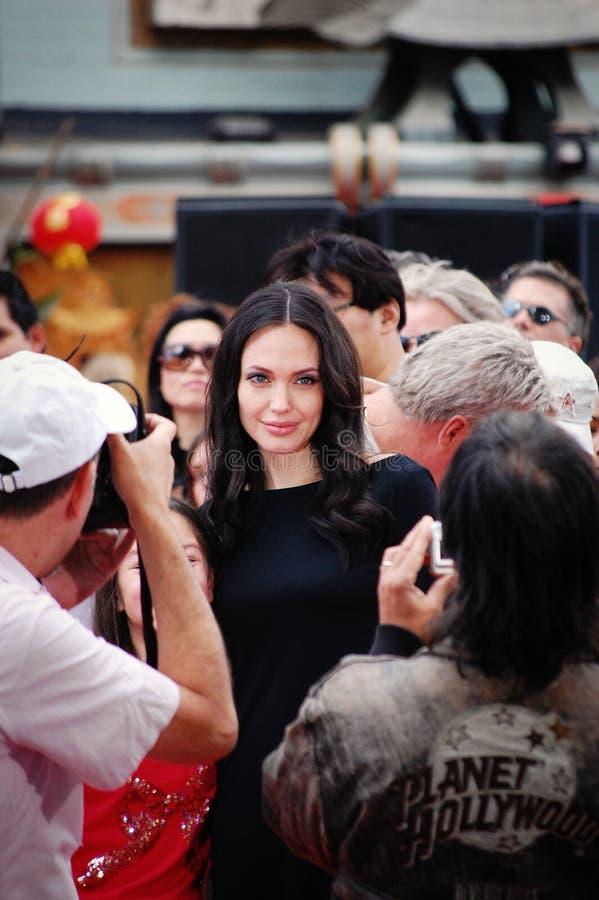 Angelina Jolie no lançamento de DVD da panda de Kung Fu. imagem de stock