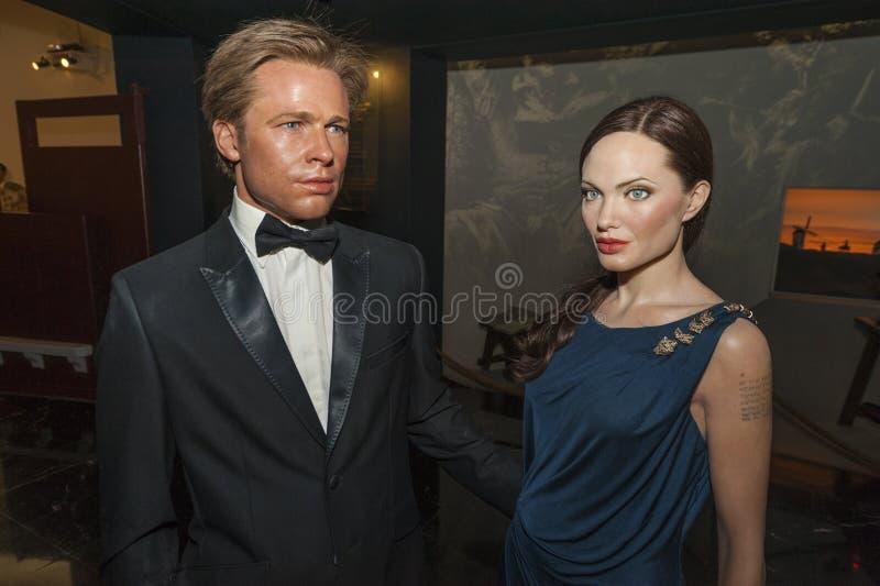 Angelina Jolie och Brad Pitt Wax Figures royaltyfri fotografi