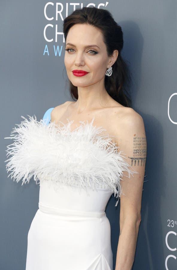 Angelina Jolie. At the 23rd Annual Critics` Choice Awards held at the Barker Hangar in Santa Monica, USA on January 11, 2018 royalty free stock photo