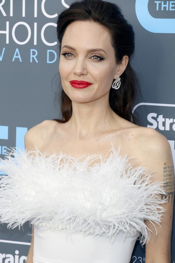 Angelina Jolie. At the 23rd Annual Critics` Choice Awards held at the Barker Hangar in Santa Monica, USA on January 11, 2018 stock image