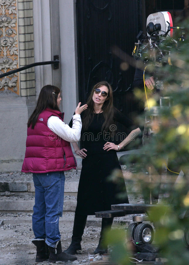 ANGELINA JOLIE. In the role of director, on the set of her Bosnian war drama currently in production in Budapest, Hungary, on Wednesday, October 13, 2010 royalty free stock photos