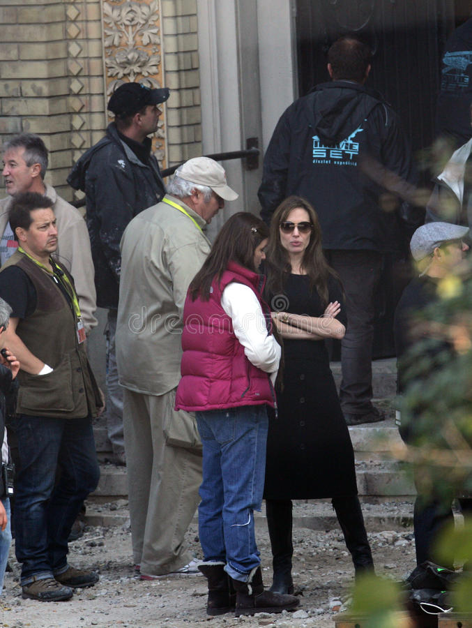 ANGELINA JOLIE. In the role of director, on the set of her Bosnian war drama currently in production in Budapest, Hungary, on Wednesday, October 13, 2010 stock photo