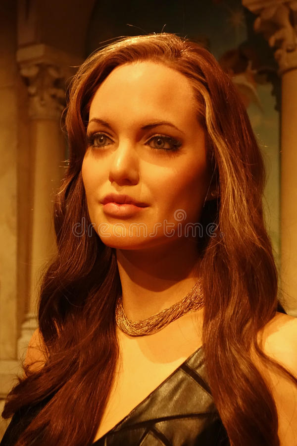 Angelina Jolie Wax Figure. A wax figure of actress Angelina Jolie at Madame Tussauds, in New York stock photography